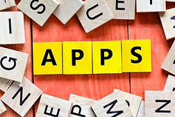 Apps. Wooden letters spelling APPS on wo