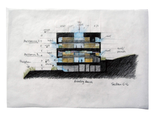 """Cross Section C-C Studies of light and shadow Prismacolor on Tracing Paper Framed, 12.5""""w x 9""""h"""