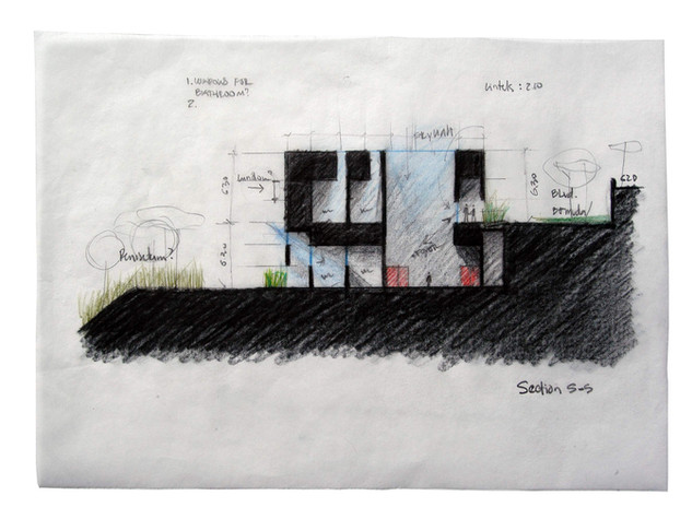"""Cross Section S-S Studies of light and shadow Prismacolor on Tracing Paper Framed, 12.5""""w x 9""""h"""