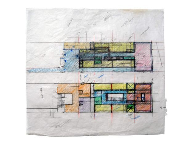 """Library Layout Studies Prismacolor on Tracing Paper Framed, 15""""w x 14""""h"""