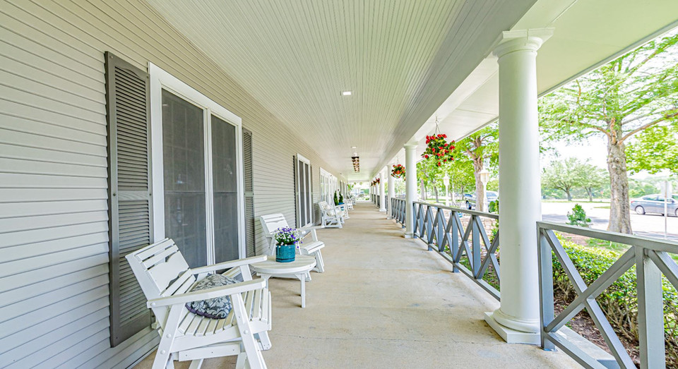 Long front porch of assisted living residence