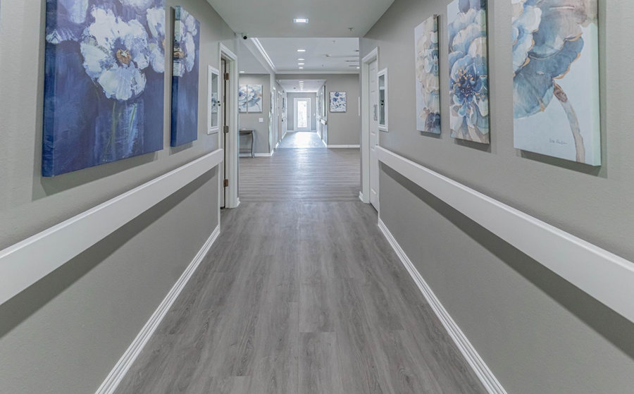 Bright, wide hallways with railing for safety