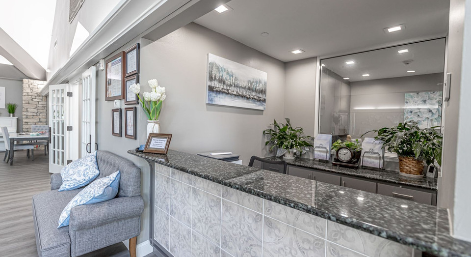 Check-in counter at assisted living building