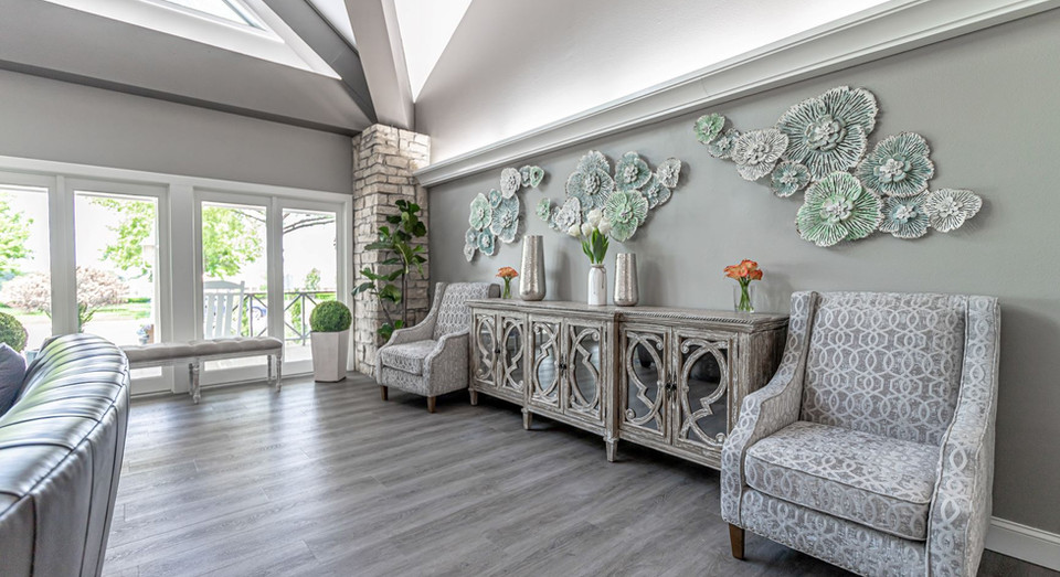 Decorative side wall of living room with extra seating