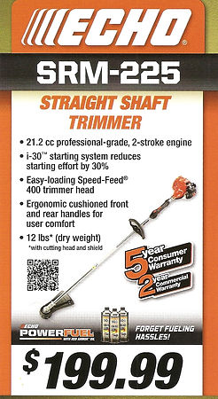 Echo SRM-225 Straight Shaft Trimmer For Sale At Seven Gables Equipment Conveniently Located Near Me In The Smithtown, Commack, Kings Park, Northport, East Northport, Dix Hills, Huntington, Melville, Central Islip, Islip, East Islip, Bayshore, Hauppauge, Ronkonkoma, Lake Ronkonkoma, St James, Setauket, Stony Brook, Lake Grove, Centereach, Holtsville, Selden, Islandia, Centerport, Roslyn, Massapequa, Syosset, Farmingdale, Bohemia, Patchogue, Babylon, West Babylon, Suffolk County, Long Island NY Area
