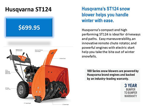 Husqvarna ST124 Snowblower For Sale At Seven Gables Power Equipment Conveniently Located In The Smithtown, 11787, Commack, 11725, Kings Park, 11754, Northport, 11768, East Northport, 11768, Dix Hills, 11746, Huntington, 11743, Melville, 11747, Central Islip, 11722, Islip, 11751, East Islip, 11730, Bayshore, 11706, Bay Shore, 11706, Hauppauge, 11788, Ronkonkoma, 11779, Lake Ronkonkoma, 11749, St James, 11780, Setauket, 11733, Stony Brook, 11790, Lake Grove, 11755, Centereach, 11720, Holtsville, 11742, Selden, 11784, Islandia, 11760, Centerport, 11721, Roslyn, 11576, Massapequa, 11758, Syosset, 11773, Farmingdale, 11735, Bohemia, 11716, Patchogue, 11722, Babylon, 11702, West Babylon, 11707, Suffolk County, Long Island NY Area