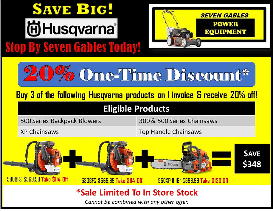 Chainsaw Sale At Seven Gables Power Equipment Conveniently Located In The Smithtown, 11787, Commack, 11725, Kings Park, 11754, Northport, 11768, East Northport, 11768, Dix Hills, 11746, Huntington, 11743, Melville, 11747, Central Islip, 11722, Islip, 11751, East Islip, 11730, Bayshore, 11706, Bay Shore, 11706, Hauppauge, 11788, Ronkonkoma, 11779, Lake Ronkonkoma, 11749, St James, 11780, Setauket, 11733, Stony Brook, 11790, Lake Grove, 11755, Centereach, 11720, Holtsville, 11742, Selden, 11784, Islandia, 11760, Centerport, 11721, Roslyn, 11576, Massapequa, 11758, Syosset, 11773, Farmingdale, 11735, Bohemia, 11716, Patchogue, 11722, Babylon, 11702, West Babylon, 11707, Suffolk County, Long Island NY Area
