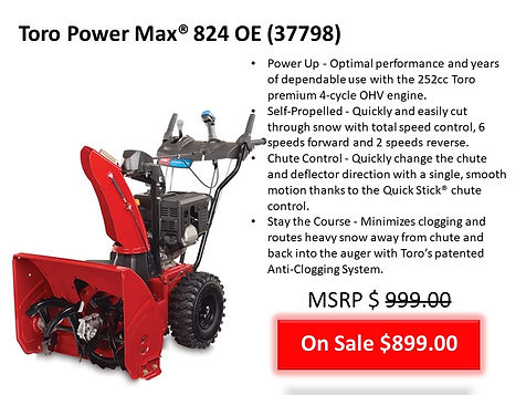 Toro Power Max 824 OE 37798 Snow Blower For Sale At Seven Gables Power Equipment Conveniently Located Near Me In The Smithtown, Commack, Kings Park, Northport, East Northport, Dix Hills, Huntington, Melville, Central Islip, Islip, East Islip, Bayshore, Hauppauge, Ronkonkoma, Lake Ronkonkoma, St James, Setauket, Stony Brook, Lake Grove, Centereach, Holtsville, Selden, Islandia, Centerport, Roslyn, Massapequa, Syosset, Farmingdale, Bohemia, Patchogue, Babylon, West Babylon, Suffolk County, Long Island NY Area