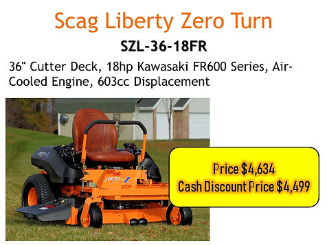 Scag Liberty 36 Zero Turn SZL-36-18FR For Sale At Seven Gables Power Equipment In The Smithtown, Commack, Kings Park, Northport, East Northport, Dix Hills, Huntington, Melville, Central Islip, Islip, East Islip, Bayshore, Hauppauge, Ronkonkoma, Lake Ronkonkoma, St James, Setauket, Stony Brook, Lake Grove, Centereach, Holtsville, Selden, Islandia, Centerport, Roslyn, Massapequa, Syosset, Farmingdale, Long Island NY Area
