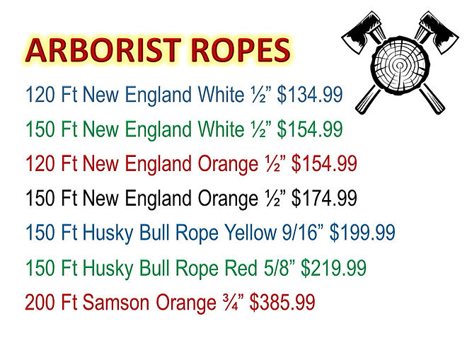 Arborist Ropes For Sale At Seven Gables Power Equipment Conveniently Located In The Smithtown, Commack, Kings Park, Northport, East Northport, Dix Hills, Huntington, Melville, Central Islip, Islip, East Islip, Bayshore, Hauppauge, Ronkonkoma, Lake Ronkonkoma, St James, Setauket, Stony Brook, Lake Grove, Centereach, Holtsville, Selden, Islandia, Centerport, Roslyn, Massapequa, Syosset, Farmingdale, Bohemia, Patchogue, Babylon, West Babylon, Suffolk County, Long Island NY Area