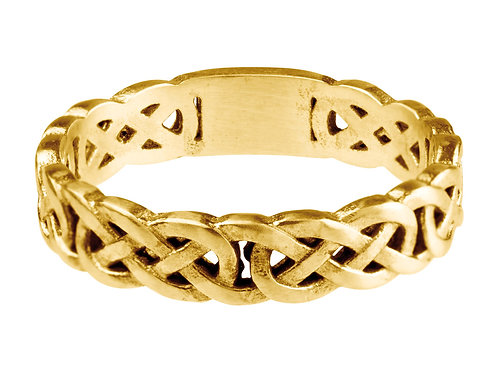 9cYellow Gold Celtic Band - Thin