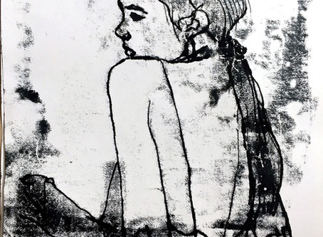Girl with a headscarf. Monoprint
