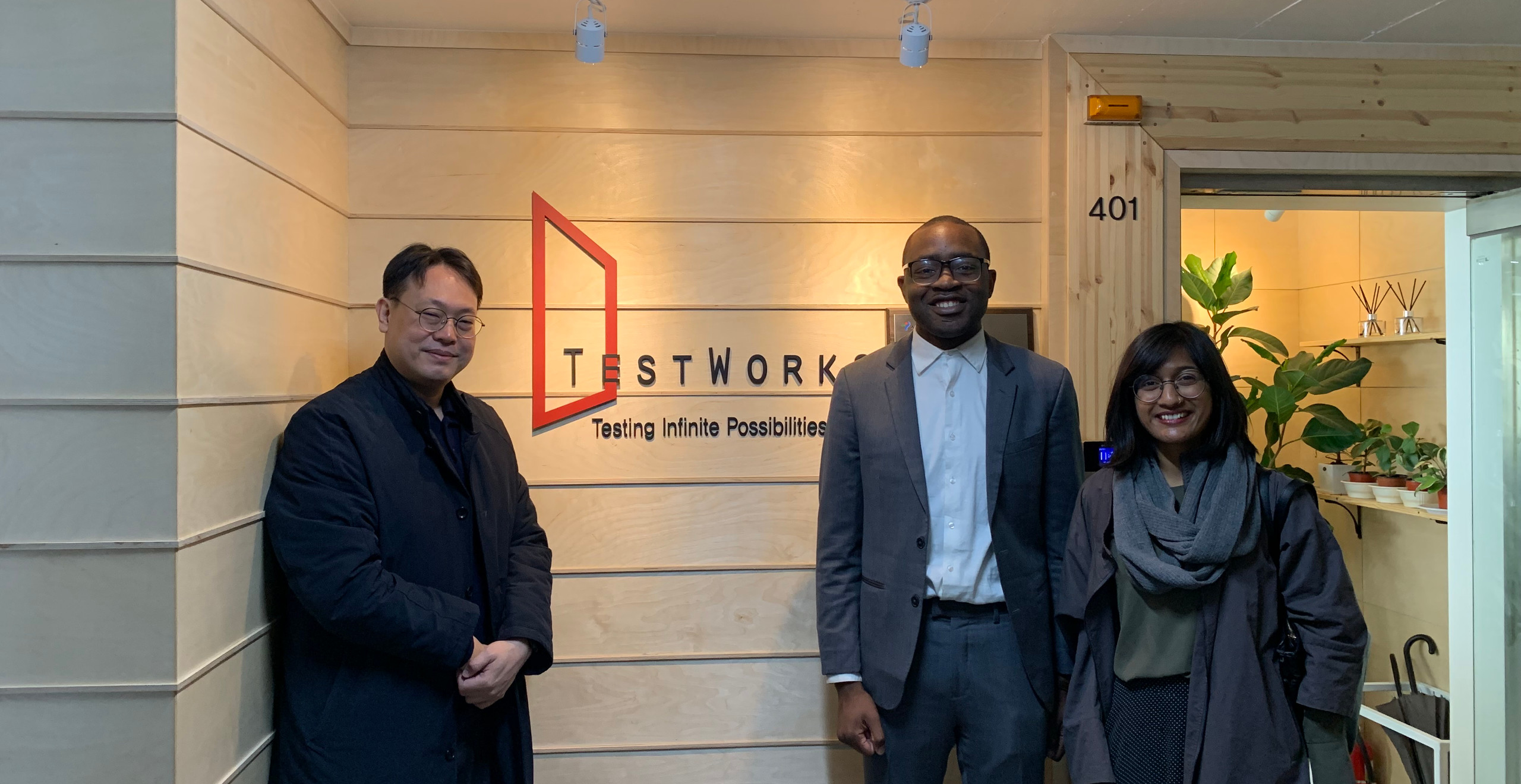 At TestWorks with Founder & CEO, Yoon Suk Won (left) and Zahin Hussain, a consultant at the United Nations Development Programme