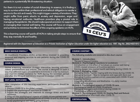 SHORT COURSE ON COVID-19: MENTAL HEALTH RESILIENCE FOR HEALTHCARE PROFESSIONALS