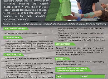 SHORT COURSE IN WOUND CARE - BOOK NOW!