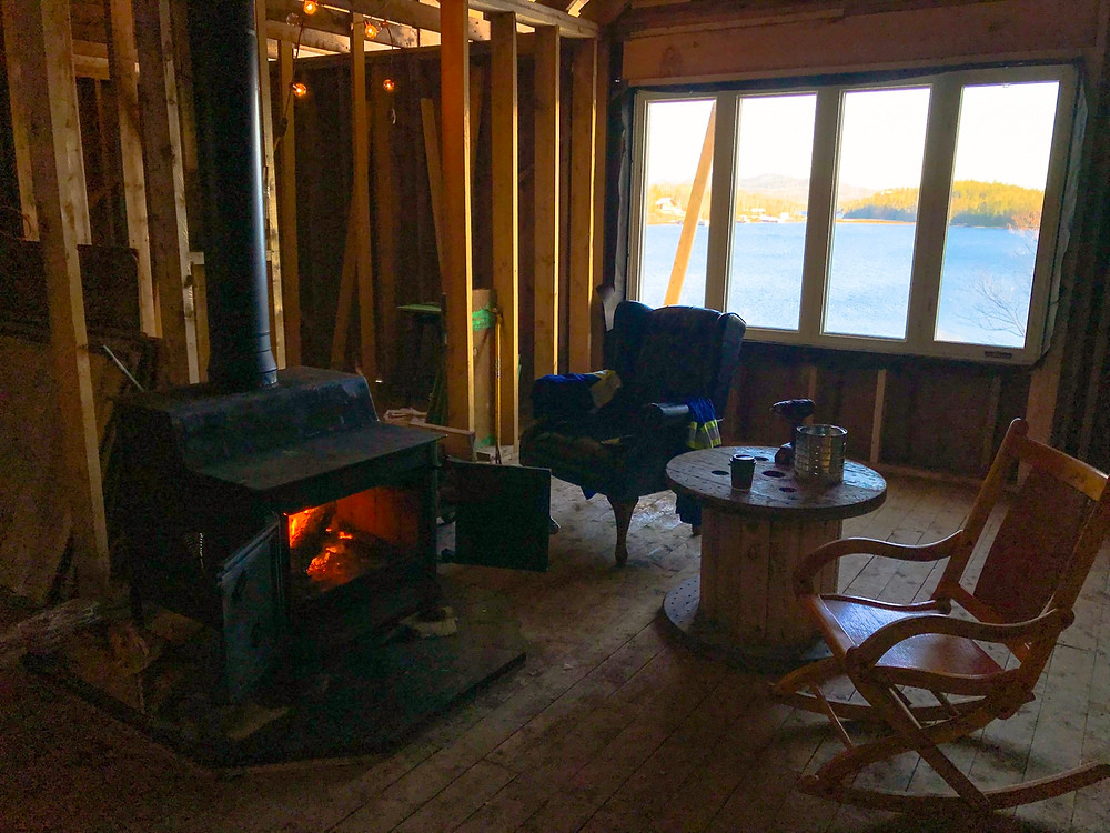 Wood stove fireplace installation diy cabin offgrid