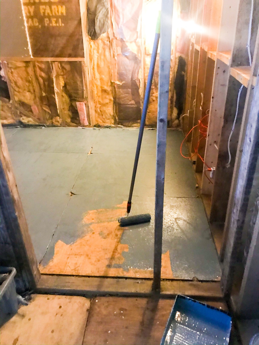 Painting over rough plywood floor to make the surface cleaner and smoother