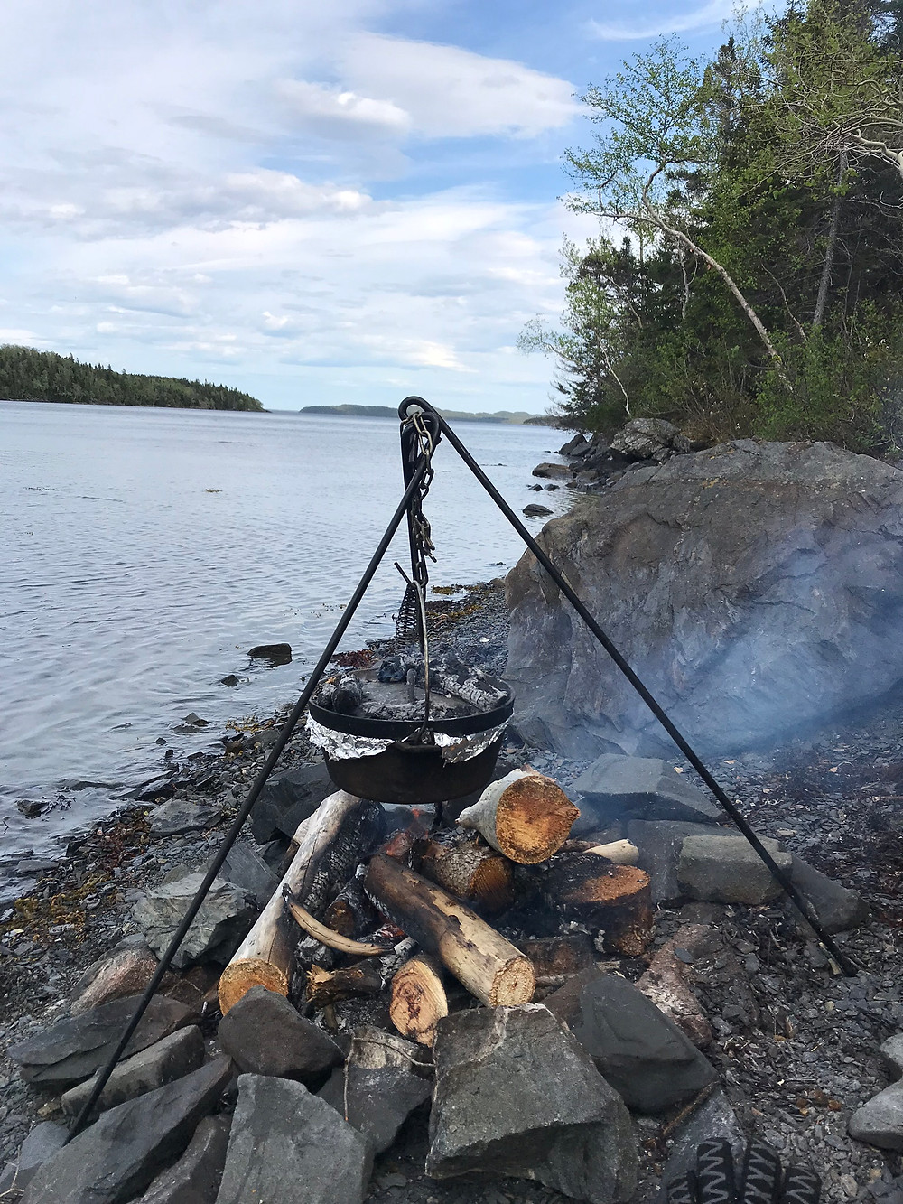 Dutch oven cast iron cooking wilderness on the beach