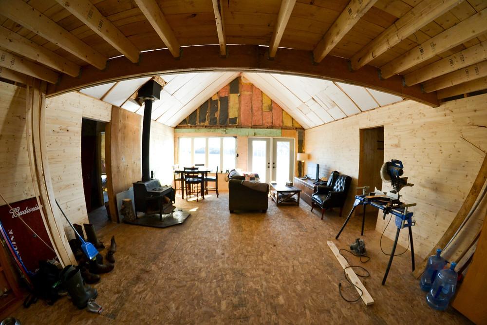 DIY cabin interior pine walls