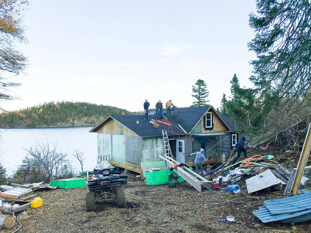 DIY cabin roofing installation shingles