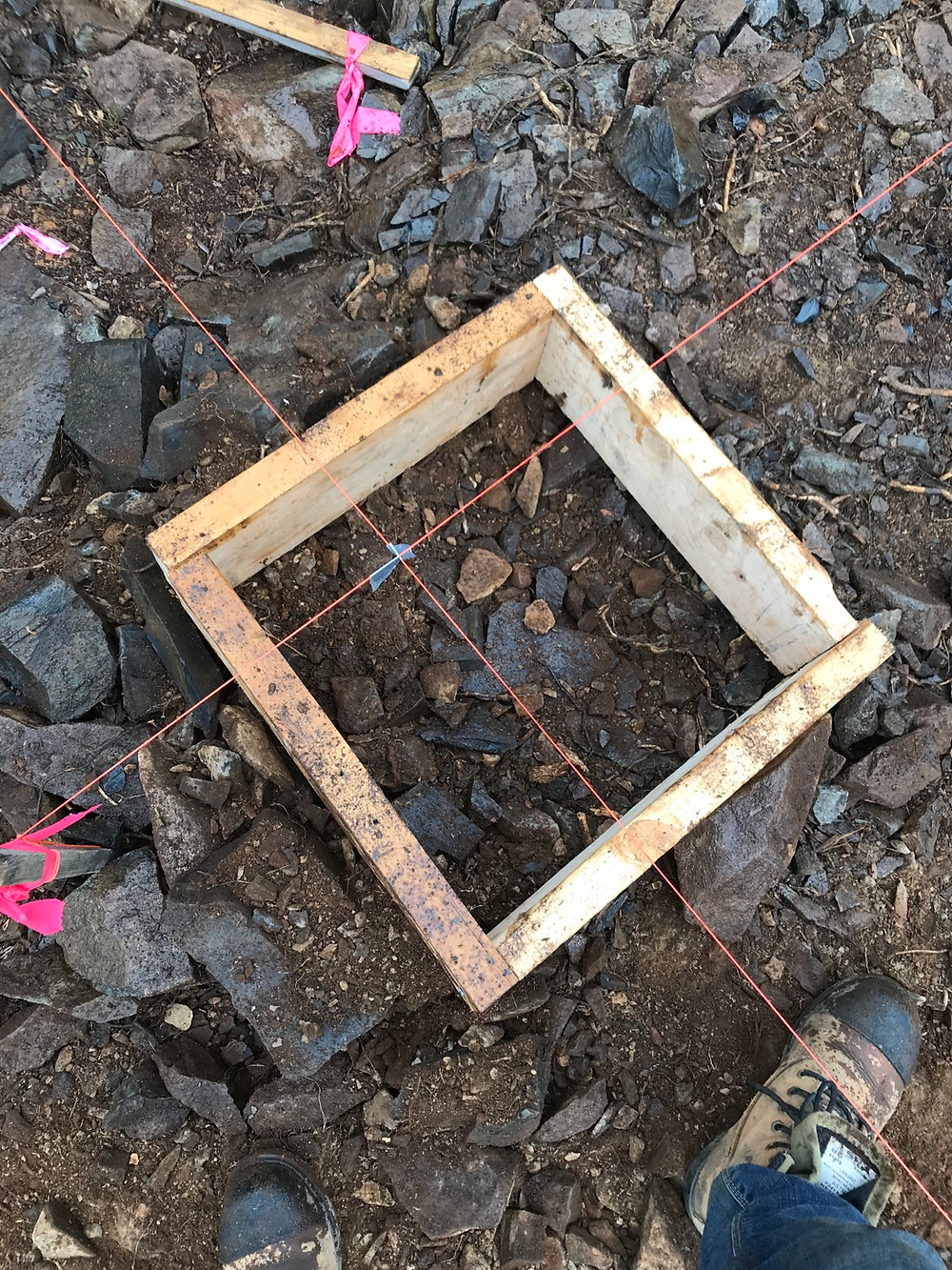Building wooden frames to pour cement pads
