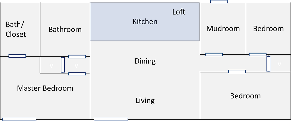 Floor plan for cabin with open concept living room with loft