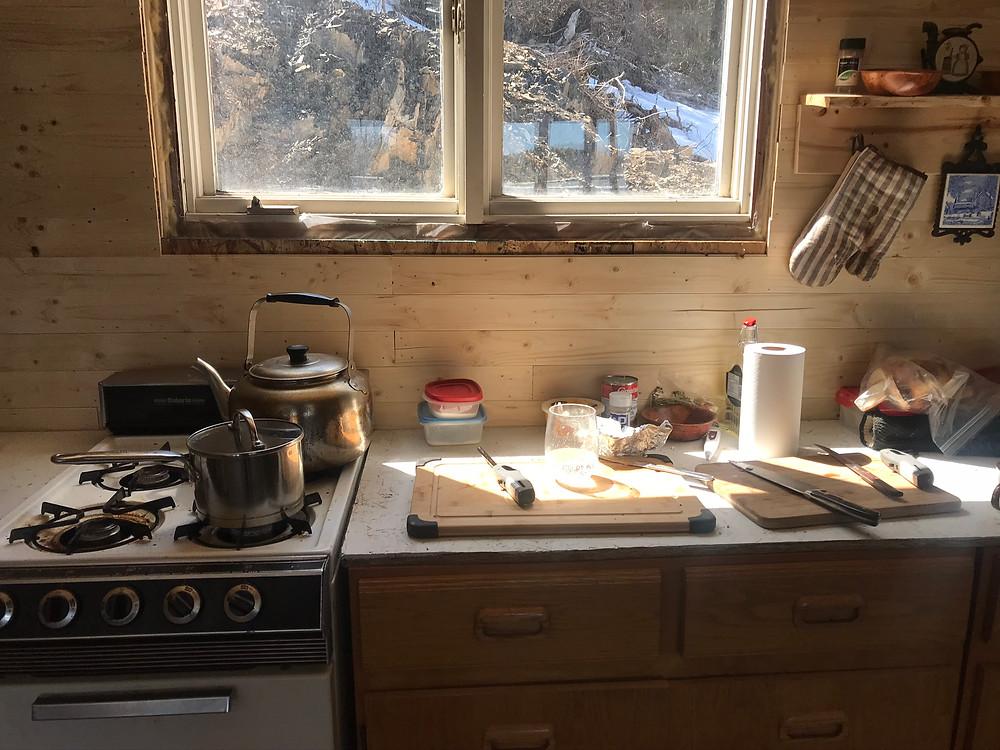 A diy kitchen during golden hour