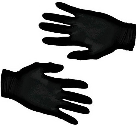 200 Black Textured Latex Gloves - Powder Free