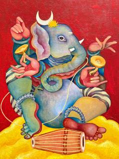 Natyacharya Ganapati | Original painting is no longer available. Order your prints below!