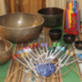 tuning forks, tibetal bowls, crystals