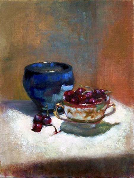 cherries and blue vase