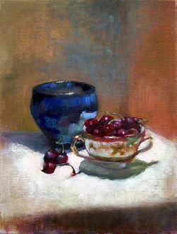 cherries and blue vase