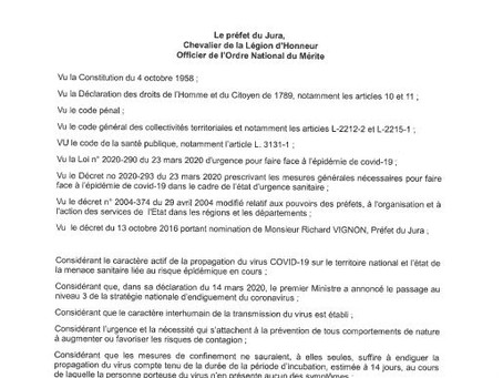 Arrêté préfectoral du Jura du 03 avril 2020... renforcement du confinement...