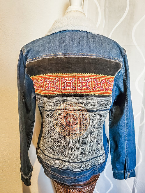 Denim Jacket with Vegan Shearing collar