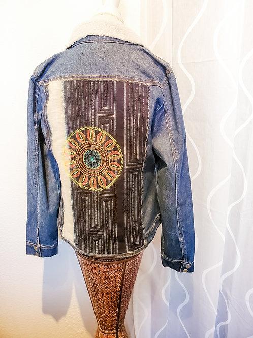 Denim Jacket with Vegan Shearing collar