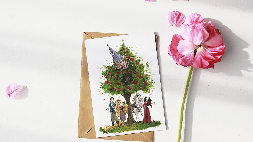 Disney Rapunzel Watercolor Original Design Greetings Card