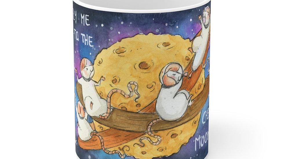 Fly Me to the Cheese Moon Watercolor Original Design Ceramic Mug (EU)