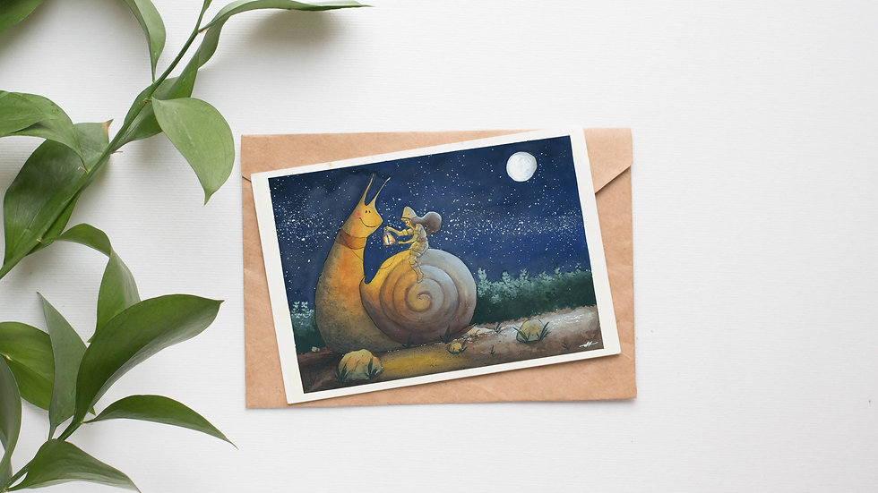The Snail's Journey Original Gouache Painting Greetings Card