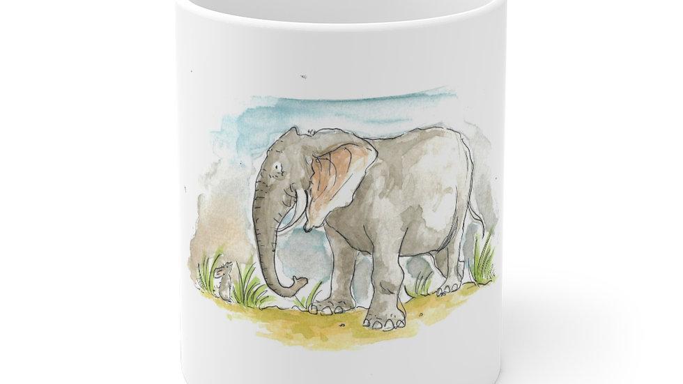 Cute Elephant Watercolor Original Design Ceramic Mug (EU)