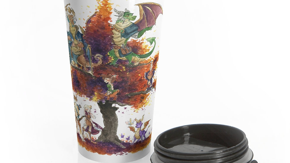 Spyro the Dragon Watercolor Original Design Stainless Steel Travel Mug