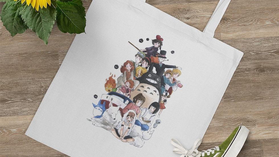 Studio Ghibli Characters Bundle Watercolor Original Design Tote Bag