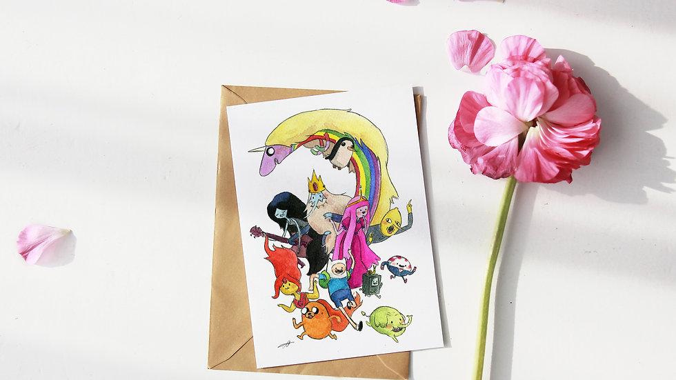 Adventure Time Cartoon Watercolor Original Design Greetings Card