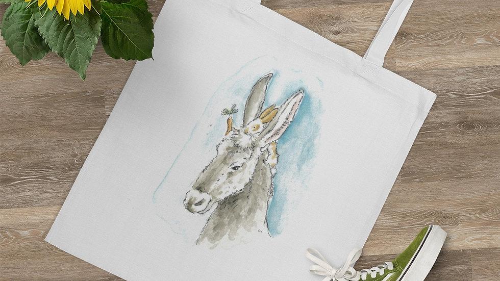 Donkey & Rabbit Watercolor Original Design Tote Bag