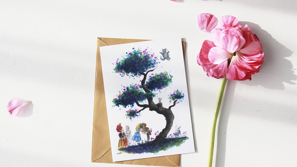 Tim Burton Alice in Wonderland Tree Watercolor Original Design Freetings Card
