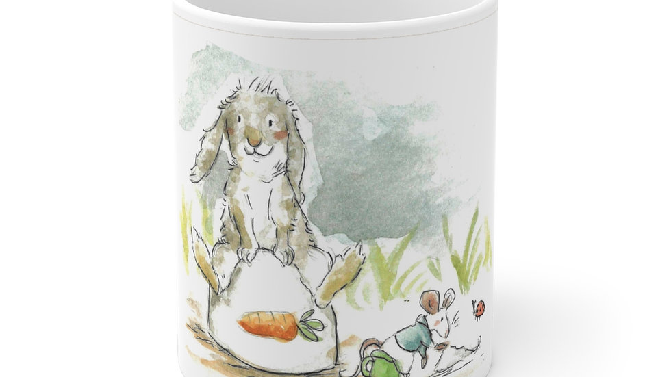 Rabbit & Mouse Watercolor Original Design  Ceramic Mug (EU)