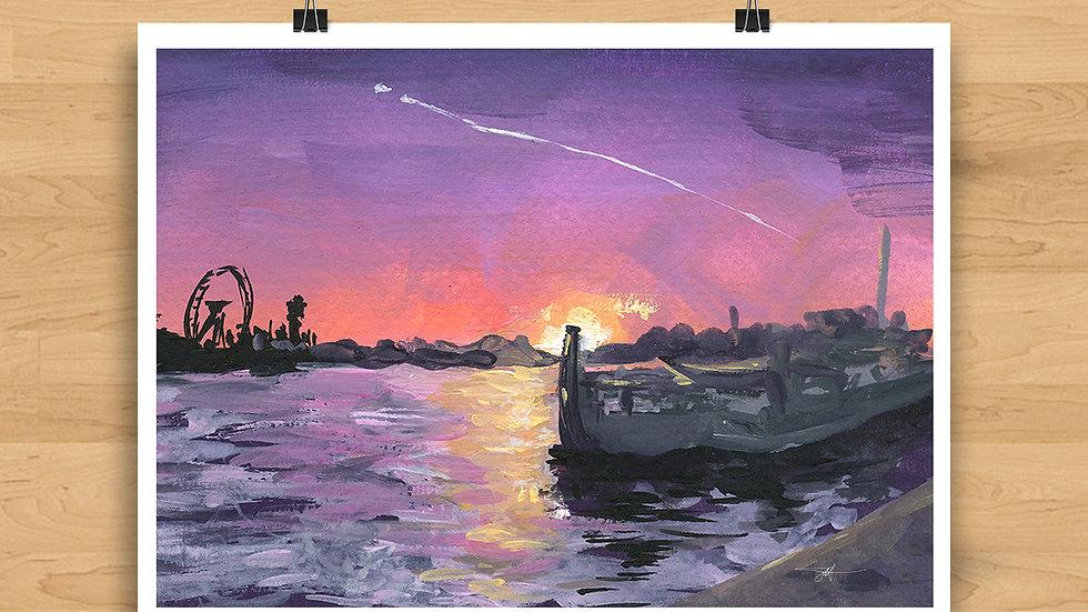 Sunset on the Thames Original Design Print