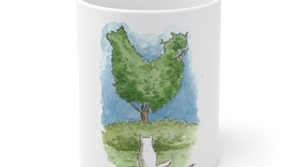 Cat & Chicken Tree Watercolor Original Design Ceramic Mug (EU)