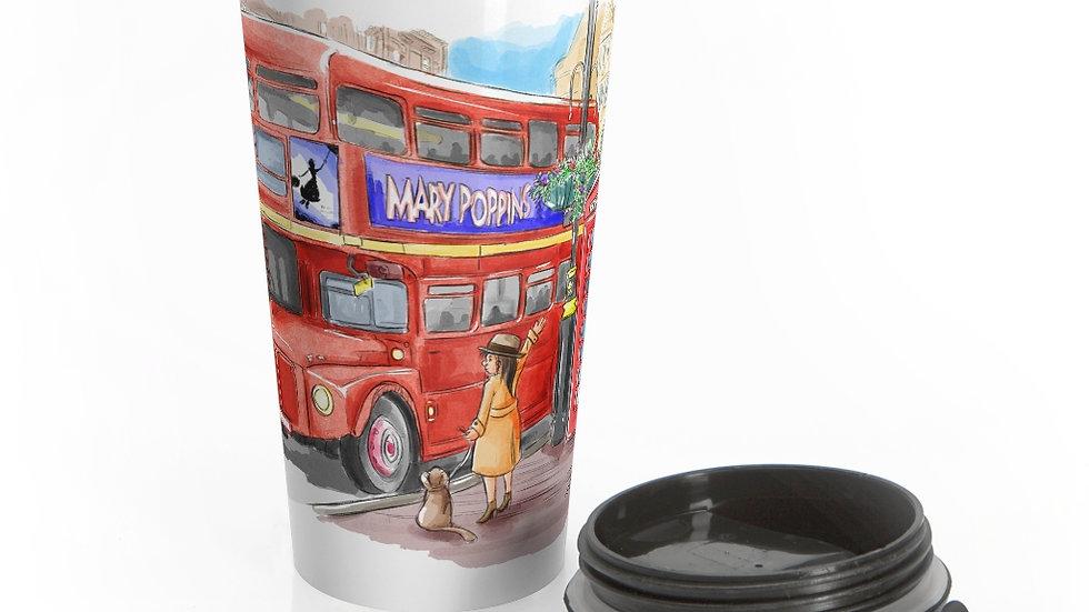 Cute London Bus Watercolor Original Design Stainless Steel Travel Mug