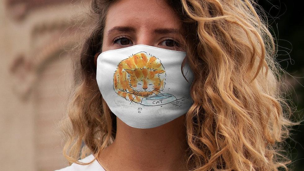 Ginger Cat Drinking Watercolor Original Design Snug-Fit Polyester Face Mask