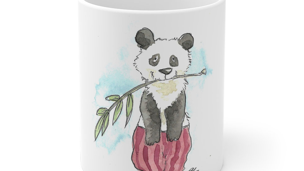 Happy Panda with Red Tracers Watercolor Original Design Ceramic Mug (EU)